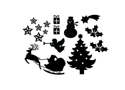 Uitbereidings set herbruikbare raamstickers  kerst