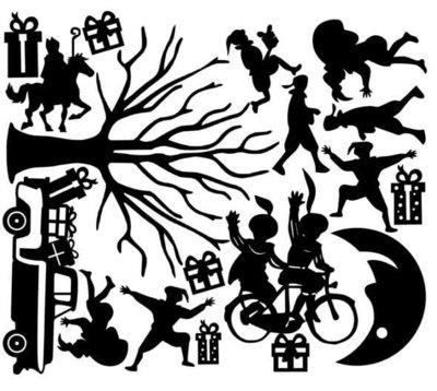 Uitbreidingsset herbruikbare raamstickers Sinterklaas #1