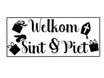 Herbruikbare sticker Welkom Sint en Piet