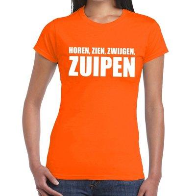 Shirt `Horen Zien Zwijgen Zuipen`oranje dames