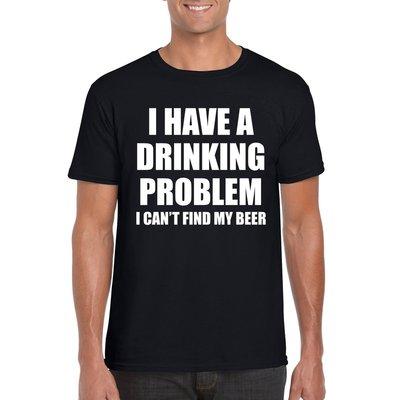 Shirt `I have a drinking problem` zwart heren.