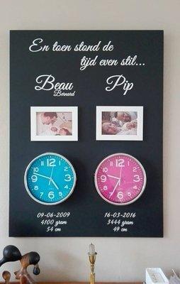 Geboortebord 60 x 80 cm met echte klok voor 2 kinderen