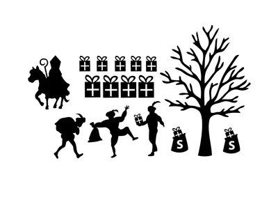 Uitbereidings set herbruikbare raamstickers Sinterklaas